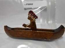 CHIEF IN CANOE WOODEN NECKERCHIEF SLIDE (BACK ARM GONE BUT LOOKS COMPLETE) F9992