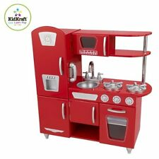 KidKraft Vintage RETRO KITCHEN, Removable Sink Wooden Kids PLAY KITCHEN, Red
