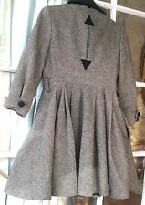 TOPSHOP Tweed fit and flair Coat SZ 8UK wool blend black buttons Classic