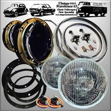 "Willys Jeep CJ3B LHD Headlight Kit 7"" Domed Glass + Pilot Chrome Rings & Wiring"