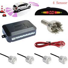 Car Reverse Backup Radar Detection LED Display 4 Reversing Parking Sensor Silver