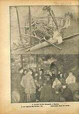 Crach Avion Aircraft Aviatik Gotha Caves de Chelles  WWI 1918 ILLUSTRATION