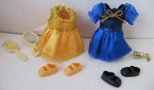 Barbie KELLY SHELLY PRINCESS CLOTHES GOLD hair bow & BLUE DRESS-UP/SHOES fashion