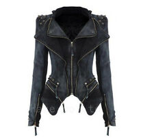Women Rock Punk Rivet Studded Denim Motorcycle Moto Jean Slim Jacket Coat Blazer