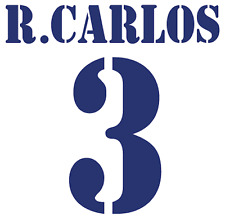 Real Madrid R Carlos Nameset Shirt Soccer Number Letter Heat Print Football H