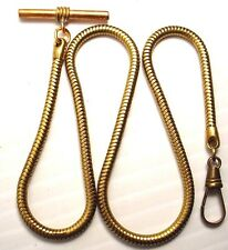 VINTAGE POCKET WATCH BRASS FOB SNAKE CHAIN T-BAR