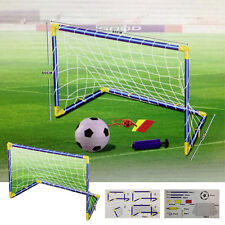 2PC KIDS CHILD FOOTBALL GOALS POST NET BALL PUMP WHISTLE SET TOY INDOOR OUTDOOR