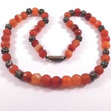 BEAUTIFUL FACETED CARNELIAN AGATE BEADS ETHNIC OLD