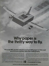 5/1975 PUB EASTMAN KODAK INDUSTREX PRODUCTS KODAK FILM AIRLINER ORIGINAL AD