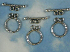 8 Sets Clasps Rope Toggle Two Strand Closures Antique Tibetan Silver Tone #P316