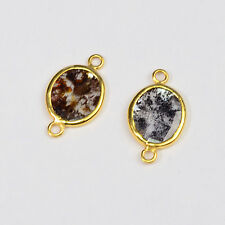 2.5CT 18K Solid Yellow Gold Rose Cut Rustic Diamond Slice Bezel Connector PAIR
