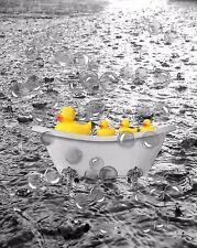 Yellow Gray Home Decor Ducks Bubble Water Wall Art Bathroom Photo Print Picture