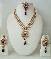 Indian Bollywood Bridal Designer Black Kundan Pearls Fashion Jewelry Sets