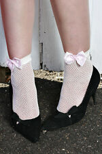 Cute Womens WHITE Nylon Fishnet Ankle Socks with PINK POKKA DOT BOW