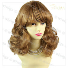 Medium Classic Curly Blonde & Brown Ladies Wigs Natural Hair from WIWIGS UK
