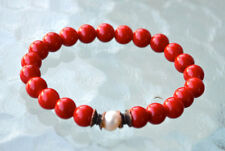 Red Coral Fresh Water Pearl Wrist Mala Beads Bracelet - Attract love Assists cle