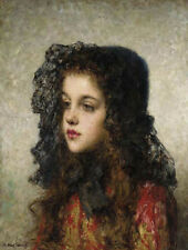 Harlamoff Alexei Little Girl With Veil A4 Print