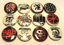 "12 1980s Punk Rock Bands ONE Inch Buttons Exploited GBH DRI DK Crass + 1"" Badges"