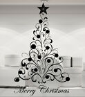 Christmas Tree and Baubles. Merry Christmas window, wall decal sticker art.