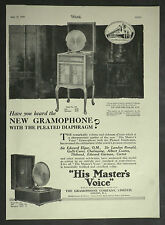 HMV His Master's Voice Gramaphone Pleated Diaphragm 1925 Page Ad Advertisement