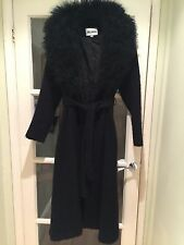 John Caruana Wool And Mongolian Lamb Black Vintage Coat Size 4