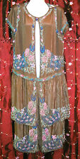 Vtg Antique Art Deco Roaring 20s Gatsby Beaded Floral Flapper Dress Study Only
