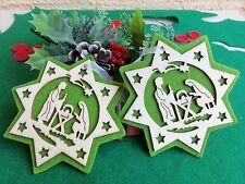 NATIVITY SCENE WOOD CARVED STAR DESIGN CHRISTMAS ORNAMENT WITH GREEN FELT BACK