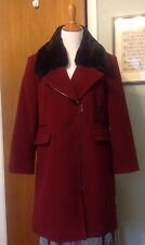 TALBOTS Red Wool Winter Coat with Black Removable Fur Collar/Thinsulate lining