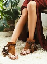 free people brown tribal suede Marlo Boot Sandal with fringle sz 8(38) $228