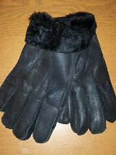 *BOXING WEEK* 2 Pairs Mens Genuine Black Sheepskin Leather Shearling Fur Gloves
