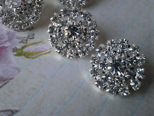 10 Pieces Rhinestone Silver Metal Buttons 18 MM Bridal Bouquet Flower Accessory