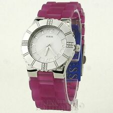 New Stylish 100% Original Ladies Watch GUESS Purple Rubber NWT Waterpro