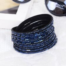 LOVELY LEATHER Slake BRACELET MADE WITH SWAROVSKI CRYSTALS - DARK BLUE - NEW
