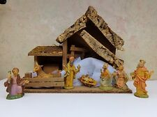 Vintage Italy 9 Pc CRECHE Wood Holy Nativity Set Musical Manger Silent Night VgC
