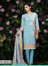 Pakistani Designer Khaadi Inspired 3pc Lawn suit blue embroidery small & medium
