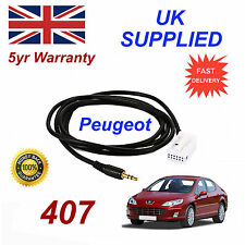 Peugeot 407 AUX 3.5mm Input Audio cable model year 2005 onwards CD Quality