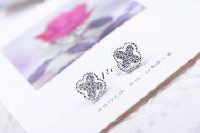 Boucles d`Oreilles Clous Puce Plaqué Or CZ Incrusté Trefle Filigrane Mariage NN4