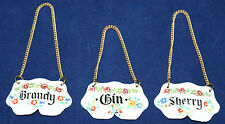 Bilston Enamel - Vintage Decanter Labels x 3 Gin, Sherry & Brandy - Retro/Kitsch