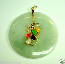 14K YELLOW GOLD MULTICOLOR JADE PENDANT
