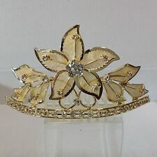 Gold plated alloy foil flower with crystal & spray leafs Tiara comb