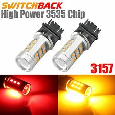 2x 3157 Red/Yellow Dual Color Switchback LED 3535 Front Turn Signal Lights Bulbs