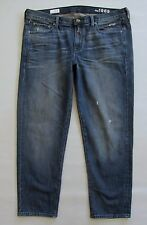 "GAP 1969 Sexy Boyfriend Jeans 32 14 Crystal Wash Distressed Denim Ankle 28"" 2012"