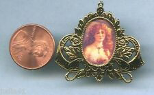 Miniature Dollhouse Filigree Frame / Red Haired Girl Picture