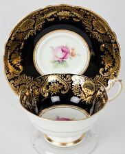 Vintage Paragon Black,Gold Gilding and Pink Rose Tea Cup and Saucer - England