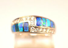 CONTEMPORARY 14K WHITE GOLD INLAID OPAL & 15 ACCENT DIAMOND RING BAND SIZE 6.5