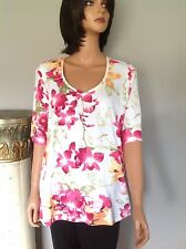 Karen Scott Cotton Blend Knit Top Xl Floral Designer Fashion Women Clothing