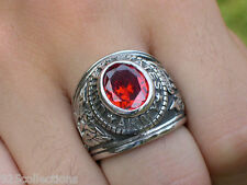 Stainless Steel United States Army Military January Garnet CZ Men Ring Size 11
