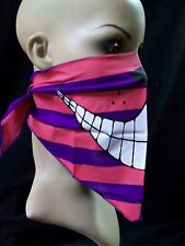 Striped Cheshire Cat Face Half Mask Bandana Classic Alice in Wonderland Big Grin