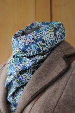 William Morris Scarf Liberty Lightweight Tana Lawn Fabric Lodden in Blue