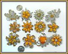 6 Orange Brooches WHOLESALE LOT Bling Rhinestone BROOCH PIN Wedding